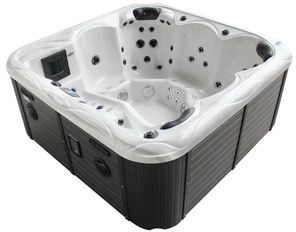 Family Compact Hot Tub Silver White Marble 10