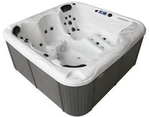 Family Compact Hot Tub Silver White Marble 12
