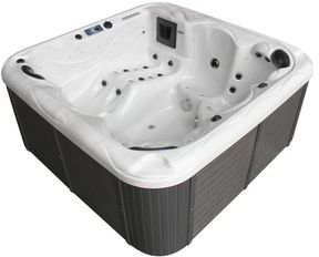 Family Compact Hot Tub Silver White Marble 13