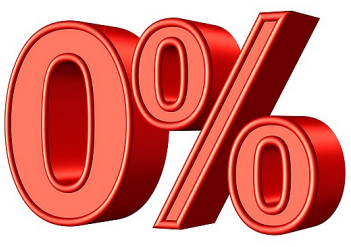 Zero percent (0%) interest free finance